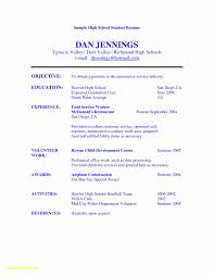 High School Resume Template For College Application Lovely Resume