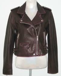 amaryllis leather cropped biker motorcycle jacket women m plum msrp 300 nwt