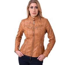 biker style las soft sheep nappa 100 genuine leather jacket tan