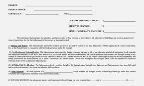 Lien Release Form Simple Sample Lien Release Form Contractor Waiver Unique Contract Resume