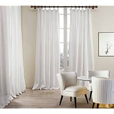 linen curtain panels. ChadMade Premium Double Layers Plain Flat Hook For Rod With Rings Or Track Linen Cotton White Curtain Drapery (1 Panel) In 50Wx108L Inch Panels N