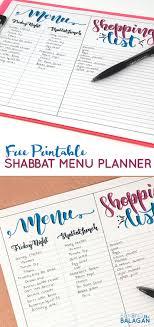 Shabbos Menu Planner Free Printable Beyond The Balagan