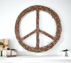 willow light up peace sign wreath lit handcrafted home decor accent light up peace sign