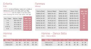 Ballet Rosa Size Chart