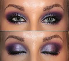 light pink or lips and a purple smokey eye