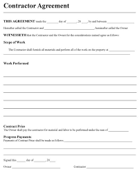 Contractor Agreement Form Sample Contracts For Contractors