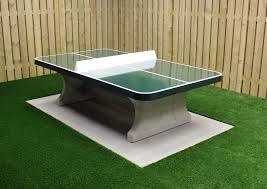 green concrete ping pong table rounded