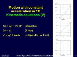 motion with constant acceleration in 1d kinematic equations v