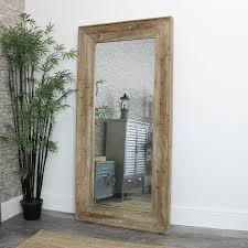 extra large rustic wooden wall mirror
