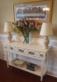 home entrance table. Dress Up Your Entrance With This Gorgeous Console Table Featuring A Simple Carved Design That Looks Intricate And Expensive. Liz At Lazy On Less Shows Home E