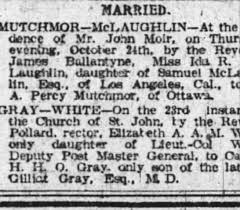 Ida McLaughlin marries Percy Mutchmor 1895 - Newspapers.com
