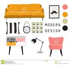 contemporary mid century furniture. Interior Design. Mid Century Modern Furniture. Vector Elements Set. Contemporary Furniture A