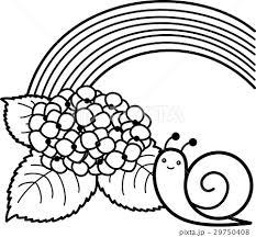 花 紫陽花 梅雨 白黒のイラスト素材 Pixta