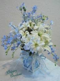 Blue and white floral centerpieces