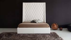 Bedroom Tufted White High Headboards For Beds With Grey Hairy Rug
