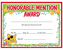 Honorable Mention Certificate Free Printable Honorable Mention Awards Certificates Templates