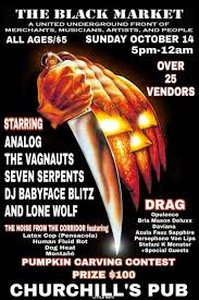 Pumpkin Carving Contest Flyers Churchills Pub Black Market Halloween Edition Over 25 Vendors