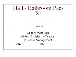 School Hall Pass Template Bathroom Passes Mille Mathias Info