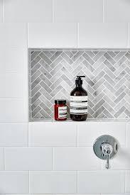 subway tile shower niche. Exellent Tile Gray Marble Herringbone Tiled Shower Niche Throughout Subway Tile I