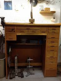 A View Of My Clock Repair Workbench  Antique Clock Repair By Dug Watchmaker Bench For Sale