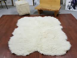 sheepskin shape 3 x5 natural white flokati rug super thick 3 25 wool