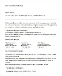head cashier resume example example of cashier resume