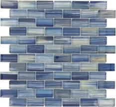 watercolors blue 1 x 2 glossy glass pool tile