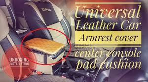 Universal Leather <b>Car Auto Armrest</b> Cover Center <b>Console</b> Seat <b>Box</b> ...