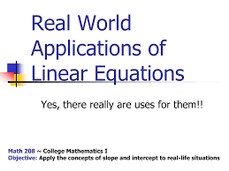 real life linear equation