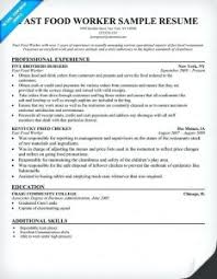 Fast Food Worker Resume Fancy Food Service Worker Resume Skills About Fast Food Resumes 21