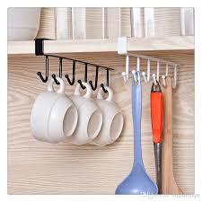 2019 traceless nail free metal kitchen cup holder hang cabinet shelf storage rack organizer 6 hooks from dhgatejiaju 2 42 dhgate com
