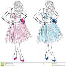 девушки в платьях голубого и розового эскиза моды иллюстрация