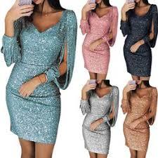 Tassel Lantern Sleeve Sequin Dress Women Sexy V Neck ... - Vova