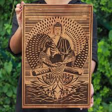 The Buddha Enlightenment Carved Wooden Poster By Woodgeek Store   Buddhism Wooden  Artwork   Religious U0026