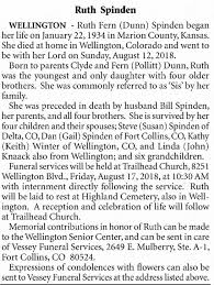 Obituary for Ruth Fern Spinden, 1934-2018 - Newspapers.com