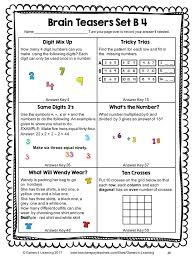 Math Brain Teaser Cards Set B - 66 Math Problems in Task Cards and ...