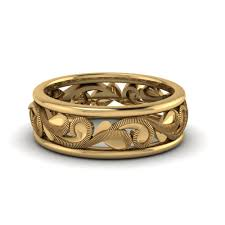 Filigree Two Tone Mens Wide Wedding Band In 14k Yellow Gold