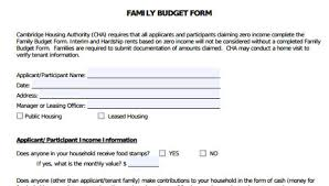Household Budget Form 6 Family Budget Forms Free Sample Example Format Download