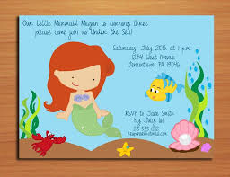 Ariel Little Mermaid Princess Birthday Party Invitation Cards