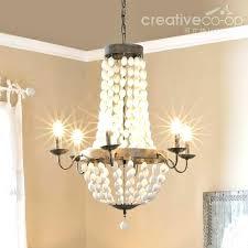 creative coop chandelier creative co op lighting co op lighting distressed white wood beads chandelier creative