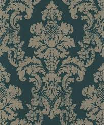 Distressed Damask - Green / Gold ...