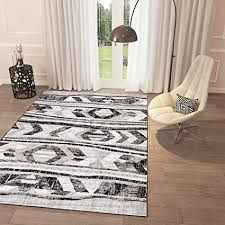Amazon.com: Black and White Grey Distressed Tribal Print Area Rug 2 ...