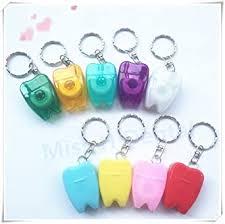 10pcs/set Tooth-Shaped Key <b>Chain</b> Type Flat-<b>Line Portable</b> Dental ...