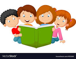 cartoon kids reading book vector image