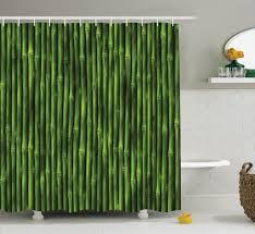 bamboo stems pattern tropical nature print wildlife zen decor shower curtain set