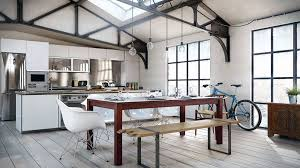 kitchen loft design ideas. dining room, white based spaces design with room exposed bulb lighting wooden flooring and kitchen ideas loft u