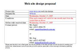 Sample Website Proposal Template