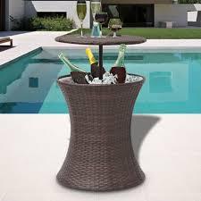 Ice Bucket Table Vidaxl Ice Cooler Bucket Table Poly Rattan Brown Vidaxlcom