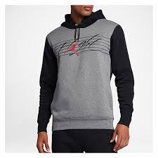 jordan clothing. jordan flight graphic fleece pull over hoodie - men\u0027s grey / black clothing