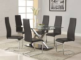 leather dining chairs modern. Coaster Modern Dining Black Faux Leather Chair With Chrome Throughout Set Chairs